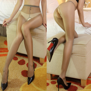 front and back view of lady wearing grey sheer shiny open crotch pantyhose with black shiny high heel