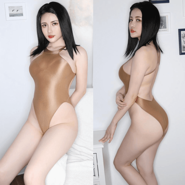 front and side view of lady wearing a brown color wet look bodysuit featuring a high neck, large back keyhole, high cut sides and a cheeky cut back.