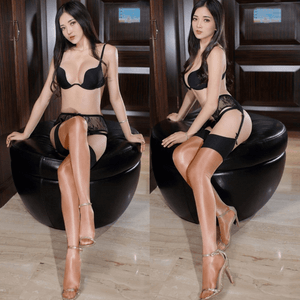 front and side view of lady wearing black bra with brown color shiny thigh high stocking with high heel
