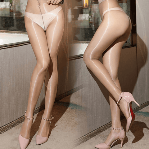 front and side view of lady wearing tan color sheer shiny pantyhose with pink high heel