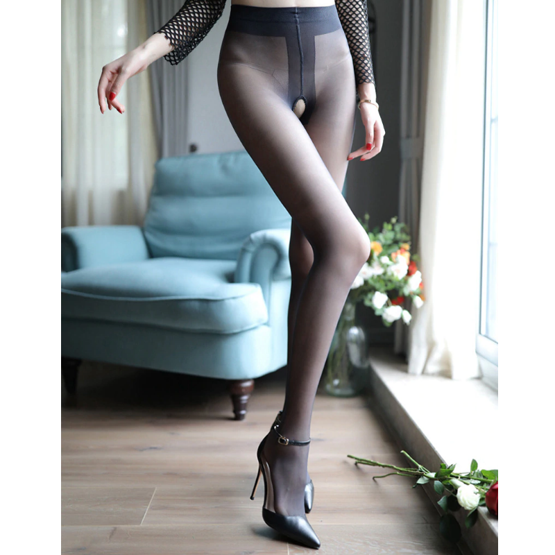 front view of lady wearing black sheer open crotch pantyhose with black high heel