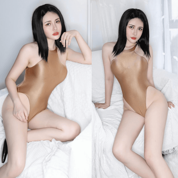 front view of lady wearing a coffee color wet look bodysuit featuring a high neck, large back keyhole, high cut sides and a cheeky cut back.