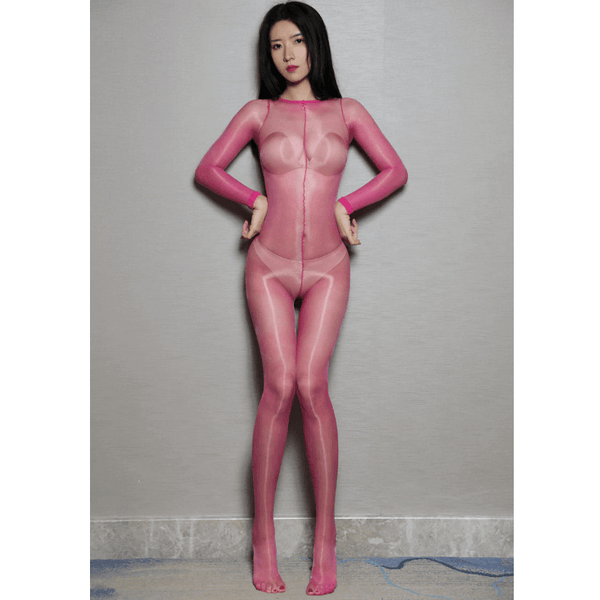 front view of lady wearing rose red shiny bodystocking featuring long sleeves, scoop neckline, choice of either closed crotch or open crotch showing off her feet