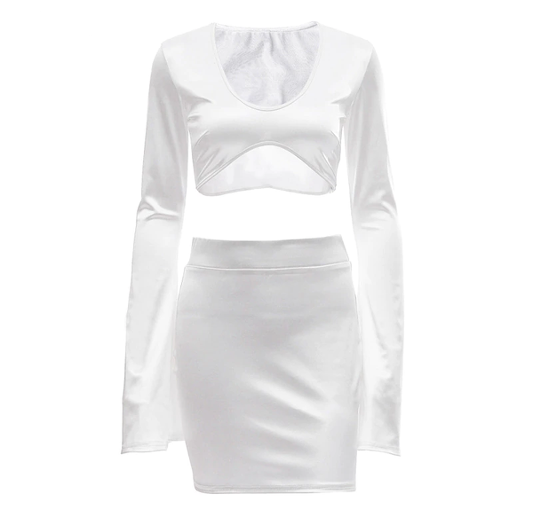 front view of white satin crop top with long sleeves, scoop neckline and a matching mini skirt.