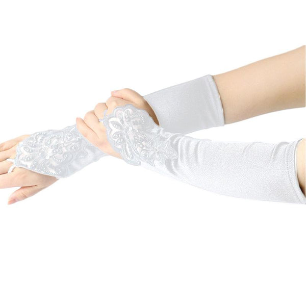 White Elegant Floral Lace Satin Fingerless Gloves