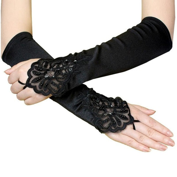 Black Elegant Floral Lace Satin Fingerless Gloves
