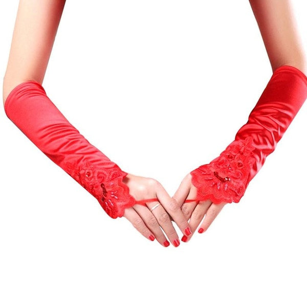 Red Elegant Floral Lace Satin Fingerless Gloves