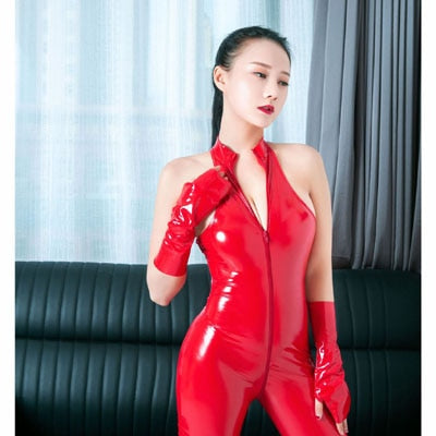 Red sexy bodysuit features a high collar, front zipper closure, an ankle length and shiny finishes.