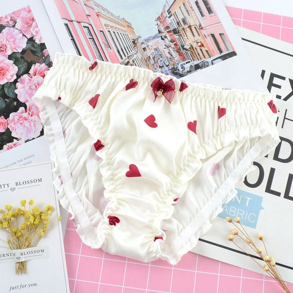 White Silk Satin Heart Shaped Print Panties