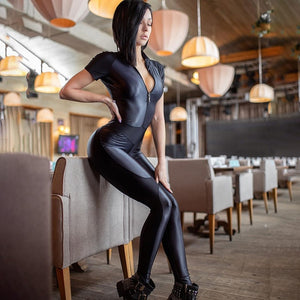Black Wet Look Short Sleeve Body Hugging Catsuit with Front Zipper Closure