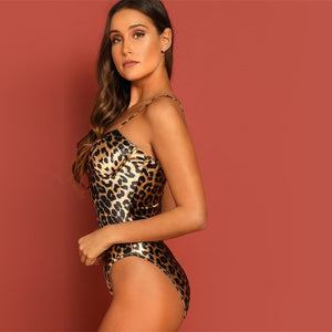 Satin Leopard Print Bodysuit featuring cup design, snap button bottom closure, sleeveless bodice.
