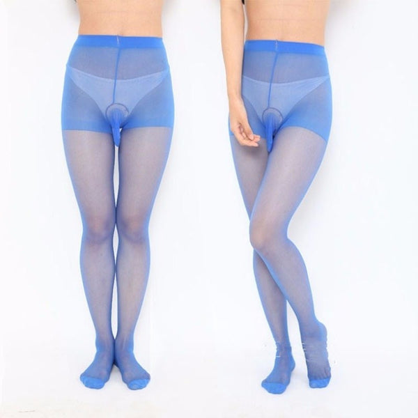 Blue mens specific sheer pantyhose featuring a sheath for your family jewel,  wide comfortable waistband, an over the toe style.
