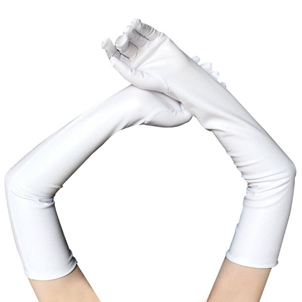 White Latex Leather Wet Look Above Elbow Gloves