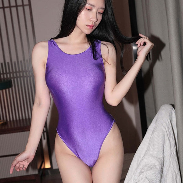 Purple beautiful bodysuit featuring a scoop neck line with shoulder straps, high cut sides and a cheeky cut back.