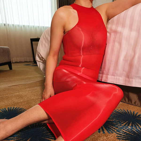 8 Denier Halter Red Oil Shine Glossy Sheer Bodystocking Dress