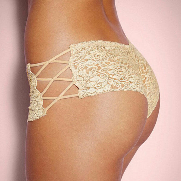 Beige Floral Lace Side Criss Cross Tie Up Lingerie Panties