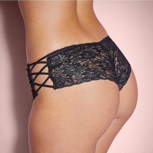 Black Floral Lace Side Criss Cross Tie Up Lingerie Panties