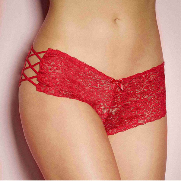 Red Floral Lace Side Criss Cross Tie Up Lingerie Panties