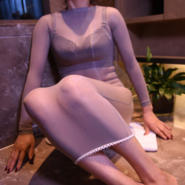 Gray 8 Denier Sheer Oil Shine Glossy See Through Nylon Dress