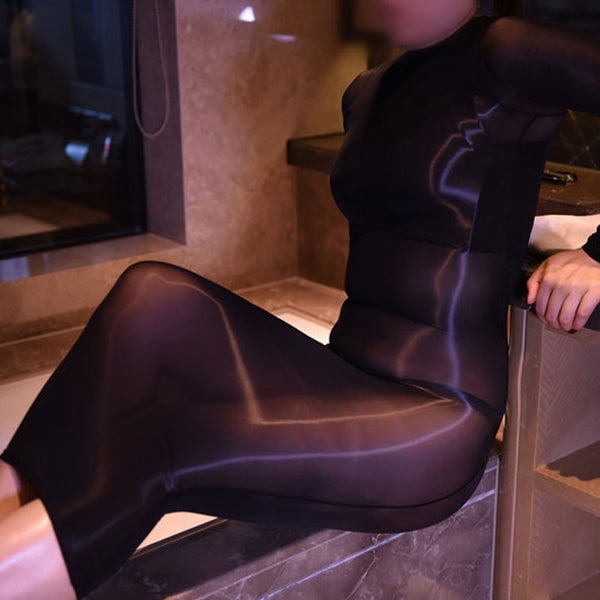 Black 8 Denier Sheer Oil Shine Glossy See Through Nylon Dress