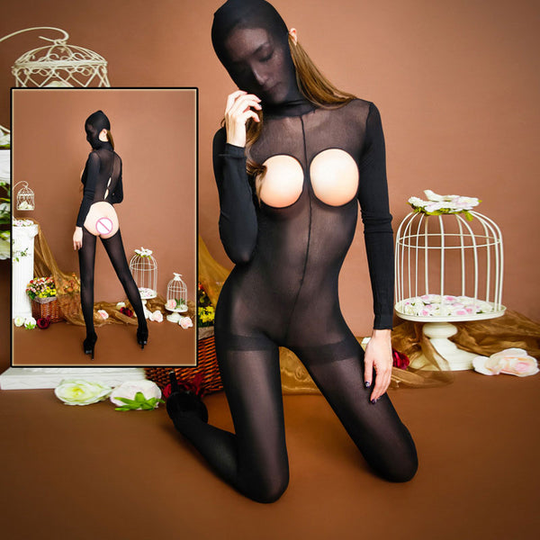 Black sheer crotchless open bust full bodystocking