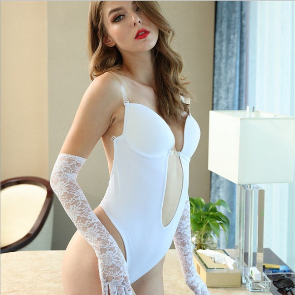 White Body Shaping Bodysuit Front buckle plunge bra with invisible straps lifts Backless & Invisible Ultra-boost for deep cleavage Tummy Control for slimmer waistline Seamless thong back  Comfy & Stretchy  Non-Slip & Moisture-Wicking