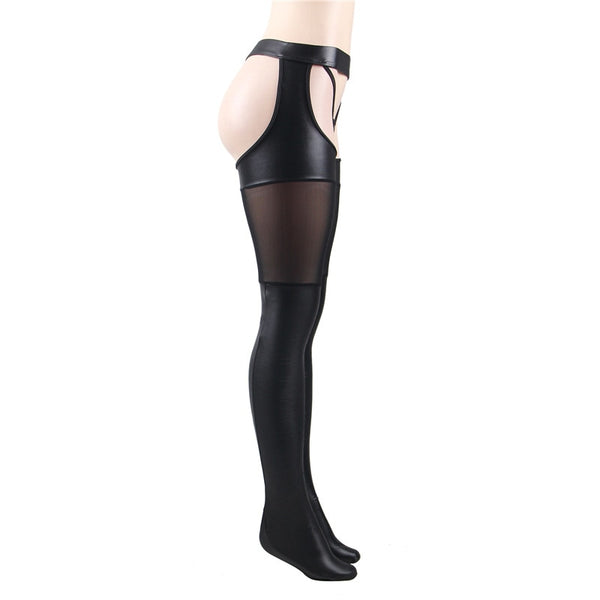 Black gartered wet look leather mesh stockings