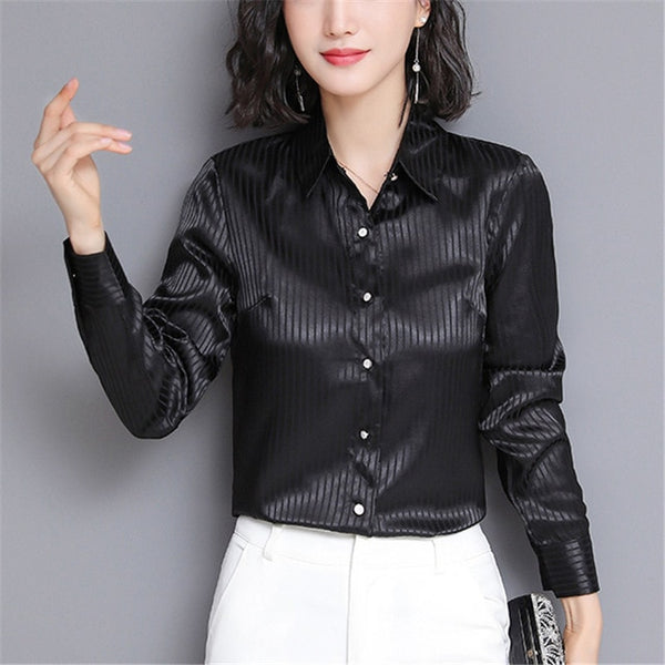 Black satin blouse featuring long sleeves, button down closure, stripes detailing and a fitted silhouette.