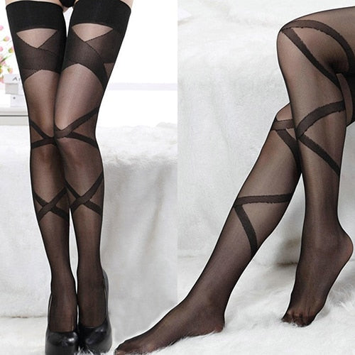 Black Sheer Thigh High Stockings With Criss Cross Stripe Design