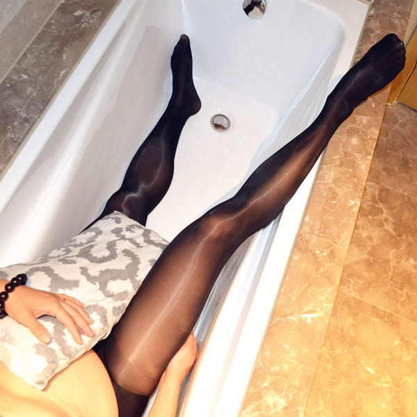 Mens Cross Dressing Oil Shine Sheer Pantyhose