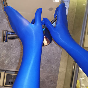 Blue Shiny Seamless Pantyhose Above Elbow Gloves