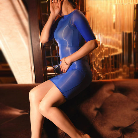 Blue Sheer Shiny Bodystocking Pantyhose Shirt Sleeves Mini Dress