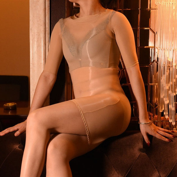 Beige Sheer Shiny Bodystocking Pantyhose Shirt Sleeves Mini Dress