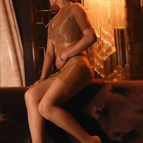 Brown Sheer Shiny Bodystocking Pantyhose Shirt Sleeves Mini Dress