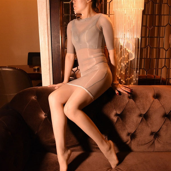 Grey Sheer Shiny Bodystocking Pantyhose Shirt Sleeves Mini Dress
