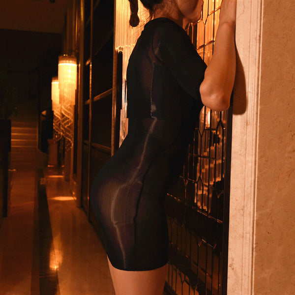 Black Sheer Shiny Bodystocking Pantyhose Shirt Sleeves Mini Dress
