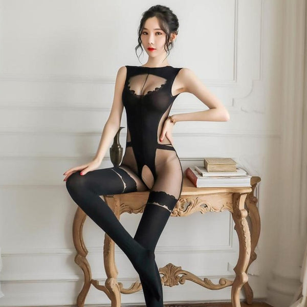 black bodystocking featuring teddy look with an open crotch, low back cut, with lace thigh high look.