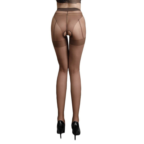 Brown sexy sheer pantyhose featuring an open crotch, thigh high silhouette, and comfortable waistband