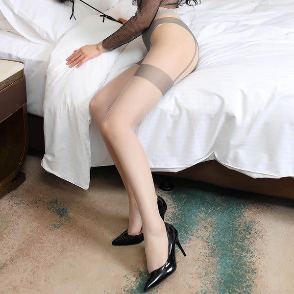 Gray sexy sheer pantyhose featuring an open crotch, thigh high silhouette, and comfortable waistband.