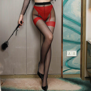 front view of lady wearing red sexy sheer pantyhose featuring an open crotch, thigh high silhouette, and comfortable waistband with black shiny high heel