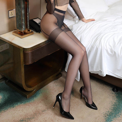 Black sexy sheer pantyhose featuring an open crotch, thigh high silhouette, and comfortable waistband