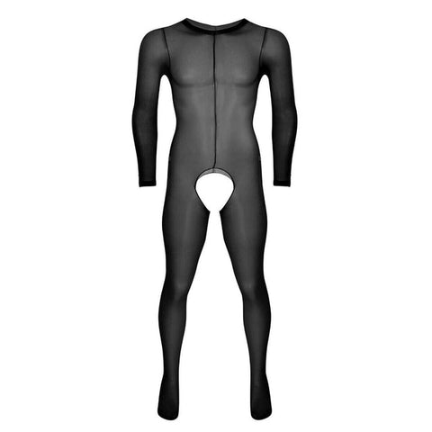 Black men specific bodystocking features a scoop neckline, an open crotch, mesh bodice and long sleeves