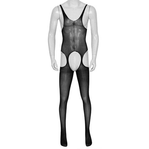 Black men specific suspender style bodystocking features an open crotch, mesh bodice and thigh high.