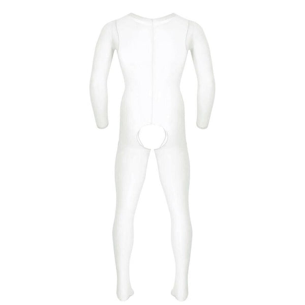 White men specific bodystocking features a scoop neckline, an open crotch, mesh bodice and long sleeves