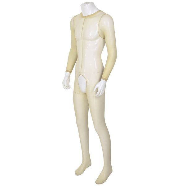 Nude men specific bodystocking features a scoop neckline, an open crotch, mesh bodice and long sleeves