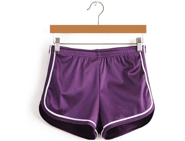 Purple silky high waisted booty shorts featuring a elastic waistband, white edging line that accentuate your butt, comfortable and stretchy.