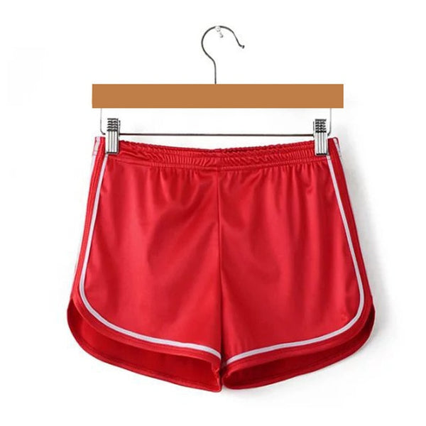 Red silky high waisted booty shorts featuring a elastic waistband, white edging line that accentuate your butt, comfortable and stretchy.