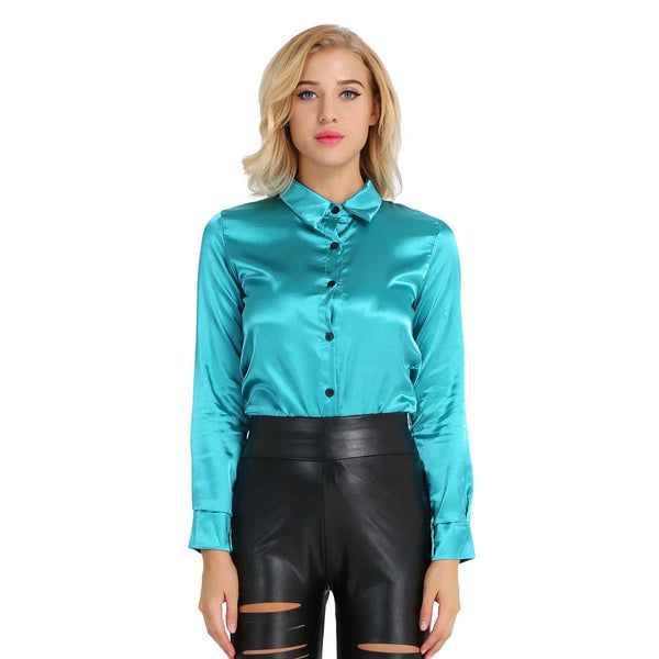 turquoise  satin blouse featuring button down closure, long sleeves, fitted silhouette.