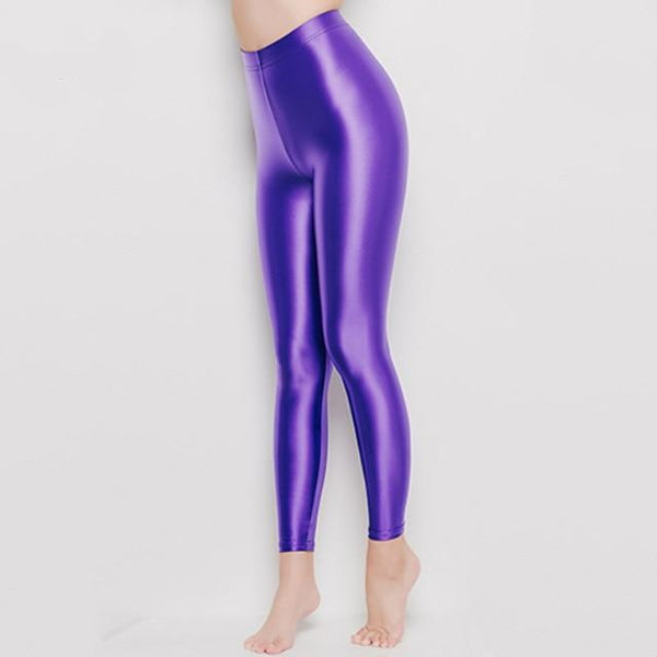 Lavender Wet Look Leggings