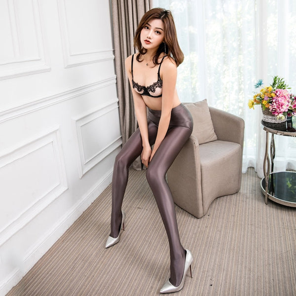 Champagne opaque shiny pantyhose legging with elastic waist band and a high waisted silhouette